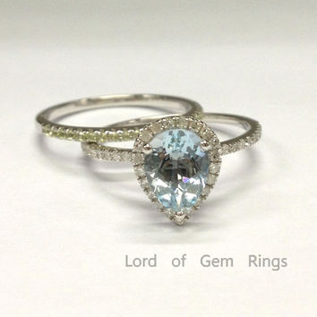 Pear Aquamarine Diamond Engagement Ring Sets Pave Peridot Wedding Band 18K White Gold 6x8mm