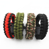 2016 Camping Hiking Emergency ParaCord Bracelet For Men Women Survival Parachute Rope Whistle Buckle Kit Wristbands