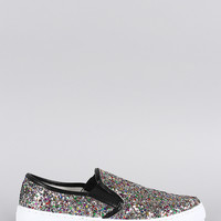 Liliana Multicolor Glitter Pointy Toe Slip On Sneaker