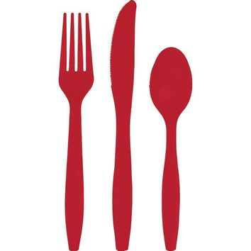 Classic Red Plastic Flatware, Plastic Forks Knives Spoons (6 of each)