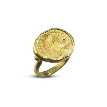 22k Gold Roman Coin Ring