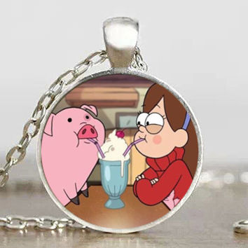 Steampunk Drama Gravity Falls BILL CIPHER WHEEL mabel pig drink Pendant Charming Necklace doctor who 1pcs lot chain men 2017 toy