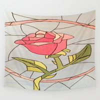 Stained Glass Window Rose Wall Tapestry by Sierra Christy Art