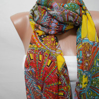 Infinity Multicolor Scarf Circle Scarf Pattern Scarf Fashion Long Loop Scarf Women Shawl Gift For Mother For Her - ScarfClub
