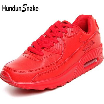 Hundunsnake Air Cushion Women Sport Shoes Red Ladies Sports Shoes Men Running Shoes Woman Leather Women's Sneakers Trainers T6