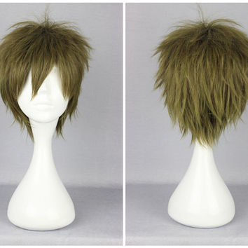 Pomotion Free Makoto Tachibana Green 30cm Short Man Cosplay Synthetic Wig,New Highlight Ombre Colorful Candy Colored synthetic Hair Extension Hair piece 1pcs WIG-370B