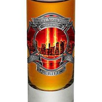 WE WILL NEVER FORGET  9-11 TRIBUTE WITH RED FIRE- NEW-  2 OZ. SHOT GLASS