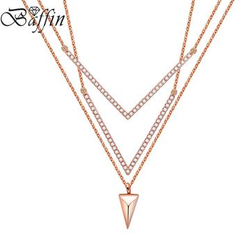 2018 Baffin Fashion V Shaped Multi Layers Necklaces Pendants Rose Gold Color Chain Necklace Women Micro Paved CZ Jewelry Gifts