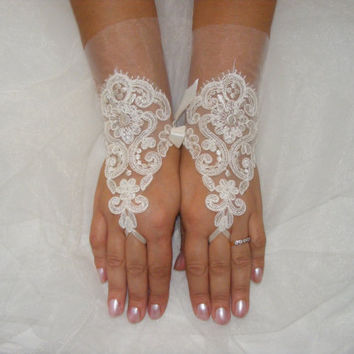 Ivory Lace Handmade Medium Lenght Fingerless Wedding Gloves With Plain Layer of Lace and Silk Ribbons