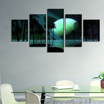 Modern Abstract Artwork 5 Piece Saturn Planet Palm Trees Sky Ligh Prints Oil Painting Canvas Wall Sticker Art Home Bedroom Decor