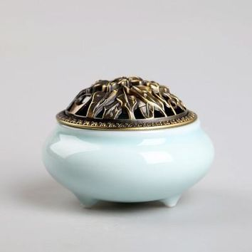 Ceramic Coil Incense Burners Holder with Metal Copper Cover  C