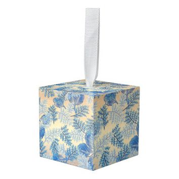 Blue Fabric Pattern Cube Ornament