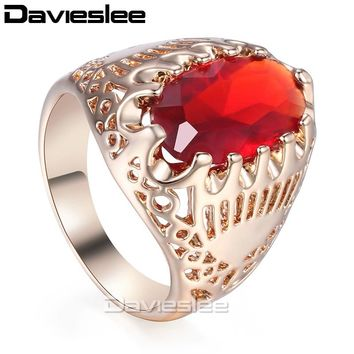 Davieslee Wedding Band Ring For Women Men Red Stone 585 Rose Gold Color 19mm Fashion Jewelry LGR39
