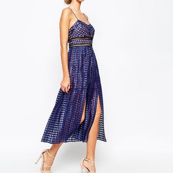 Self Portrait Sheer Check Cami Midi Dress With Pleated Skirt