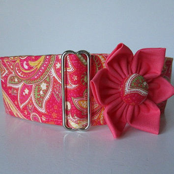 Pink Martingale Collar, 1.5 Inch Martingale Collar, Paisley Martingale Collar, Paisley Dog Collar, Whippet Collar, Pink Paisley
