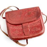 Vintage Red Tooled Leather Purse -  Retro 1960s Long Strap Boho Hippie Bag / Across Body Tote