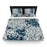 "Nick Atkinson ""Celtic Floral II"" Abstract Blue Woven Duvet Cover"