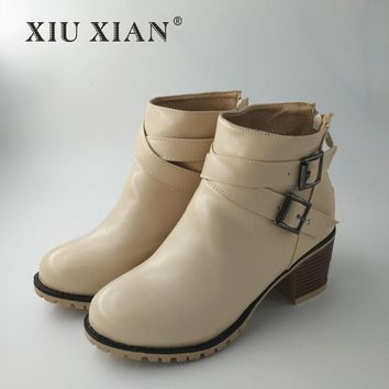 Autumn and Winter Women Boots Vintage Europe Star Fashion High Heel Snow Ankle Boots Zipper Plus Size 34-43 2017 New Casual Lady