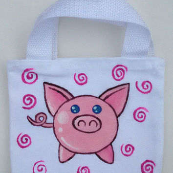 Hand Painted Mini Tote Petite Bag Childrens Tote Piggy Bag Pig Theme Small Gift Ideas Pig Tail Pink Spiral Design Kids Fashion