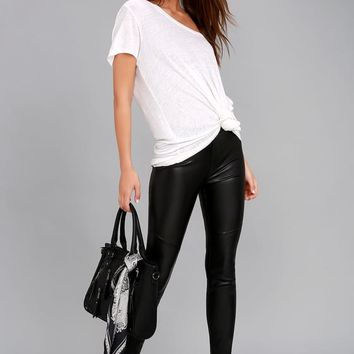 Free People Moto Black Vegan Leather Leggings