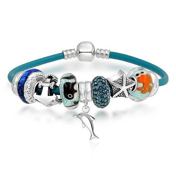 Dolphin Whale Anchor Starfish Charms Bracelet Leather Sterling Silver