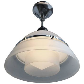 French Art Deco Satin Glass and Chromed Brass Pendant Lamp, 1920s