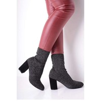 Womens Shoes, Glitter Stretch Sock Boots