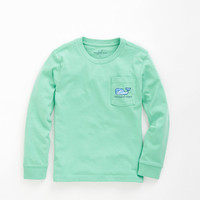 Boys Long-Sleeve Whale Water Graphic Pocket Tee