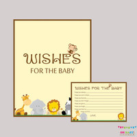 Wishes for Baby Baby Shower Activity Safari Baby Shower Well Wishes for Baby Cards and Sign - Printable Instant Download - BS0001-N