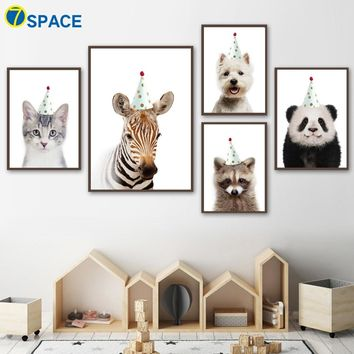 Birthday Hat Zebra Panda Dog Cat Raccoon Wall Art Canvas Painting Nordic Posters And Prints Animal Wall Pictures Kids Room Decor