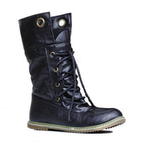 Sweater Boots With Round Toe and Lace-Up Design