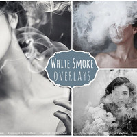 Smoke Photoshop Overlays: Realistic cigarette smoke and rings layers, mistical Smoke bomb Photo effect, white smoke dispersion machine