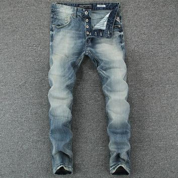 Men Stylish Blue Slim Cotton Denim Jeans [748306268253]
