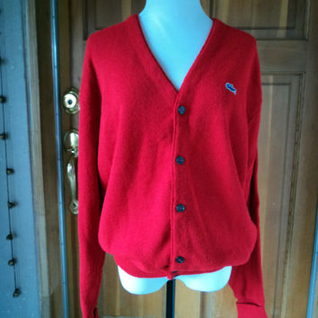 Vintage 70s Izod Sweater Blue Alligator V Neck Red Grandpa Cardigan XL 50 Chest