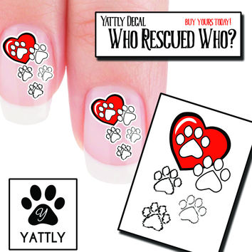 """Who Rescued Who?"" Paw Print Nail Art Decals ( now 50% More FREE)"