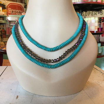 3 Strand Turquoise & Crystal Necklace