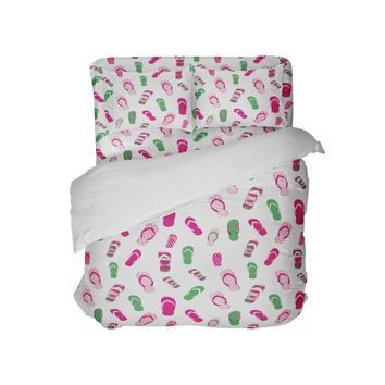 Preppy Pink and Green Flip Flops Beach Bedding Set