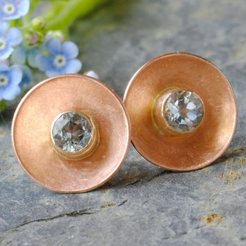 Aquamarine Post Earrings14k Rose Gold by DalkullanJewelry on Etsy