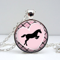 Horse Heart Necklace : Pink Pattern