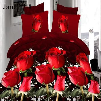 JaneYU 4Pcs king size Luxury 3D Rose Bedding setS Red color Bedclothes Comforter Cover Set Bed sheet Pillowcase for wedding