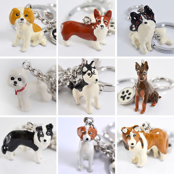 Three-Dimensional Pet Dog Keychains Hand-painted Craft Cute Dogs Key Ring Border Collie Shelti HUSKY Metal Car Keychain