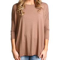 Mocha Piko 3/4 Sleeve Top