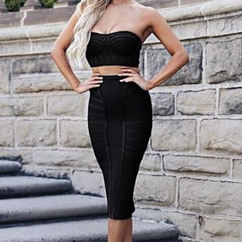 Black Bandage Two Piece Bustier Set