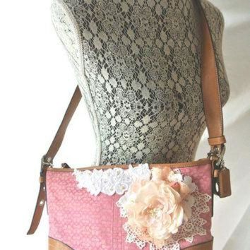 ONETOW Pink Coach purse, shabby embellished handbag, cottage floral shoulder bag, leather, vi
