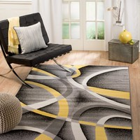2035 Yellow Contemporary Area Rugs
