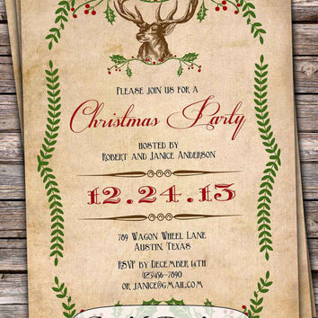 Christmas party invitation vintage diy printable custom