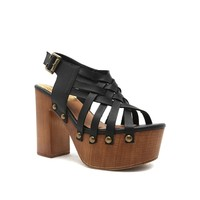 ELMA-25A Black Leather Wooden Sandal