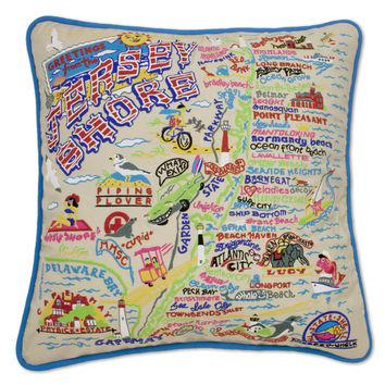 Jersey Shore Hand Embroidered Pillow