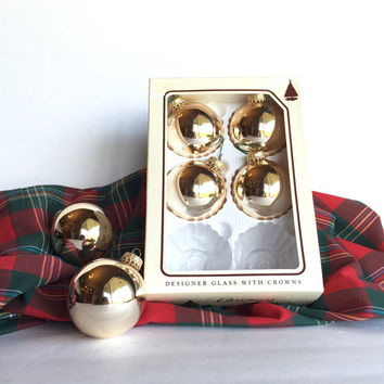 Vintage Gold Glass Christmas Tree Ornaments by Christmas by Krebs
