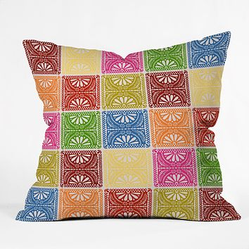 Natalie Baca Fiesta Patchwork Throw Pillow